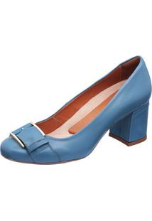 397cbfb97 Privalia. Sapato Com Salto Azul Feminino Publish Jeans Couro Bico  Arredondado Tradicional ...