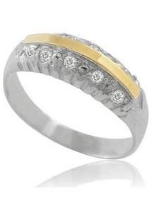 Anel De Prata Com Filete De Ouro E Zircônia - Feminino-Prata