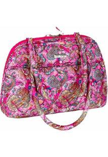 Bolsa Handbag Ana Viegas Tecido Ombro Zíper Espaçosa Feminina - Feminino-Rosa