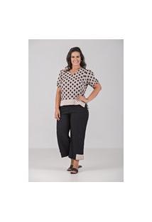 Blusa De Tecido Com Elastano Com Detalhe Em Retilinea - Plus Size Preto