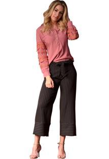 Camisa Mamorena Manga Longa Com Rendas Rosa