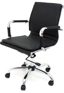 Cadeira Diretor Valencia Baixa Preta Base Cromada 6565 - Sun House