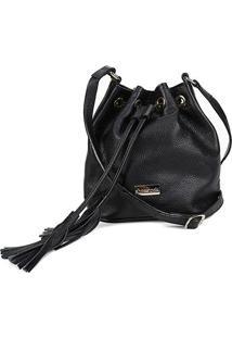 Bolsa Couro Shoestock Bucket Relax Feminina - Feminino-Preto