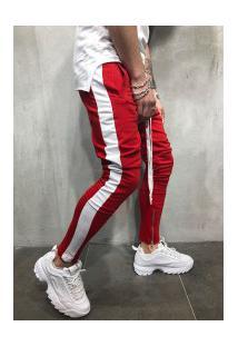 Calça Masculina Striped Slim Duas Cores - Vermelho E Branco