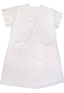 Robe Com Renda Branco G - Dica116 Dica De Lingerie