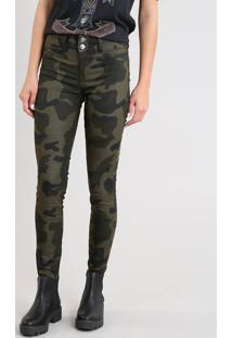 Calça De Sarja Feminina Super Skinny Pull Up Estampada Camuflada Verde Militar