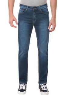 Calça Jeans Five Pocktes Slim Straight Ckj 025 Slim Straight - Azul Médio - 44