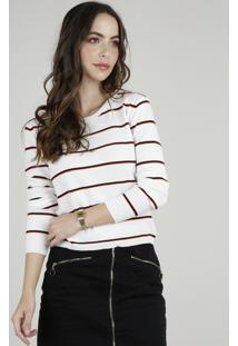 Suéter Feminino Básico Em Tricô Listrado Decote Redondo Off White