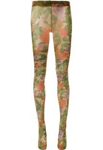 Richard Quinn Meia-Calça Translúcida Com Estampa Floral - Verde