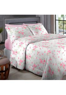 Jogo De Cama Percal 200 Fios Queen Home Collection - Appel - Rosa Floral