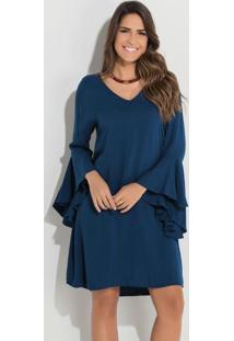 Vestido Quintess Azul Com Mangas Sino