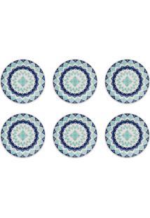 Conjunto 6 Pratos Sobremesa Biona Lola Cerâmica 19Cm Azul