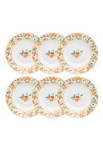 Conjunto De 6 Pratos Fundos 23,5Cm Flamingo Fruits