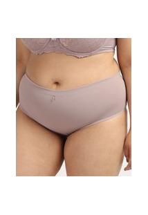 Calcinha Feminina Dilady Plus Size Cintura Alta Microfibra Rosa