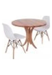 Conjunto Mesa De Jantar Tampo De Madeira 90Cm Com 2 Cadeiras Eiffel - Branco