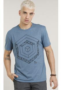Camiseta Masculina Com Estampa Geométrica Manga Curta Gola Careca Azul