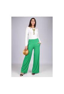 Calça Reta Pantalona Malha Com Bolso Verde Claro