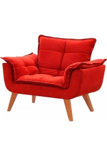 Poltrona Decorativa Opala Vermelha Base Pã© Palito Meunovolar - Vermelho - Dafiti