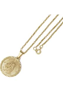 Pingente Santo Antônio Com Corrente Tudo Jóias Modelo Francesa Dourada