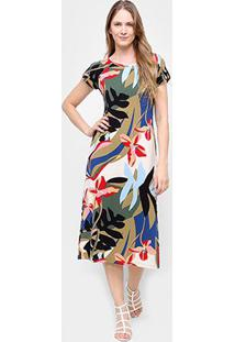 Vestido Cantão Evasê Midi Estampado Itatiaia - Feminino-Colorido
