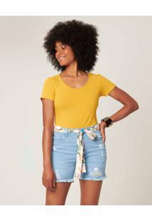 Blusa Canelada Em Viscose Malwee Amarelo - M