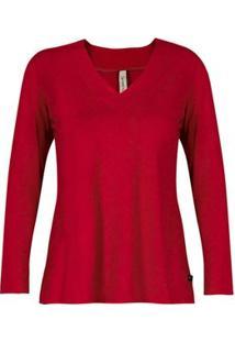 Blusa Básica Viscolycra Decote V Com Pesponto Canellado - Feminino-Vermelho