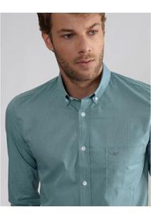 Camisa Aviator Urban Slim Fit Listrada Masculina - Masculino-Verde