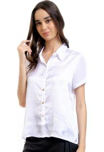 Camisa 101 Resort Wear Cetim Renda Guipure Off
