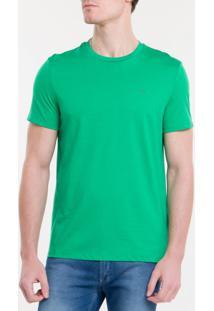 T -Shirt Basica Liquid Cotton Bordado Ck T-Shirt Basica Liquid Cotton Bordado Ck - Verde - P