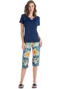 Pijama Luana Pescador Azul Marinho/Xg