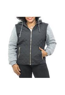 Jaqueta Feminina Poliéster C- Moletom Plus Size Ziper Capuz