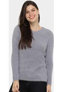Suéter Tricot Facinelli Pelinhos Feminino - Feminino-Cinza
