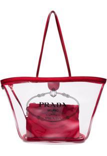 f7026b059 Farfetch. Bolsa Vermelha Transparente Feminina Prada Couro De Grife Ombro  Tote ...