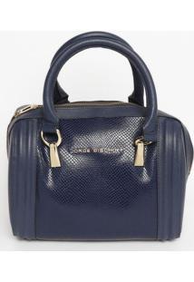 Bolsa Retangular Em Couro - Azul Marinho - 26X29X12Cjorge Bischoff
