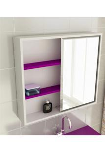 Espelheira Para Banheiro Modelo 22 60 Cm Branca E Violeta Tomdo