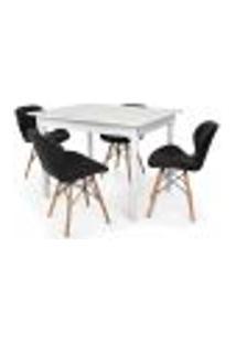 Conjunto Mesa De Jantar Robust 110X90 Branca Com 4 Cadeiras Eames Eiffel Slim - Preta
