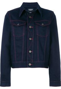 Calvin Klein 205W39Nyc Jaqueta Jeans Com Contraste - Azul