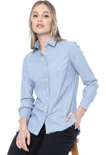 Camisa Jeans Dudalina Desfiada Azul