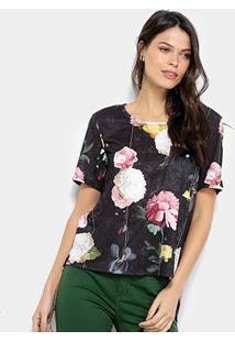 Camiseta Lança Perfume Floral Feminina - Feminino-Preto