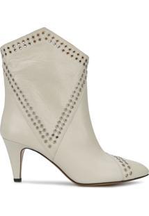 Isabel Marant Ankle Boot Com Aplicação De Ilhoses - Branco