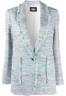 Karl Lagerfeld Jaqueta De Tweed E Bouclê - Azul