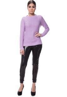 Blusa Logan Tricot Friz Na Frente Feminina - Feminino-Lilás