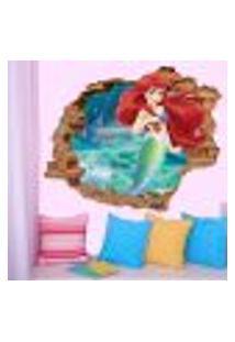 Adesivo De Parede Buraco Falso 3D Princesa Ariel 06 - G 82X100Cm
