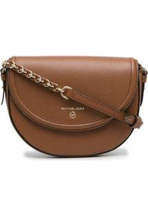 Michael Michael Kors Curved Leather Crossbody Bag - Marrom