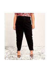 Calça Baggy Jeans Lisa Com Cós Elástico Curve & Plus Size   Ashua Curve E Plus Size   Azul   52