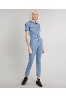 Macacão Jeans Feminino Com Bolsos Manga Curta Azul Claro