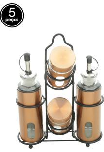 Kit 5Pçs Galheteiro Metal Finest Copper Cobre 17,5X7X23,5Cm
