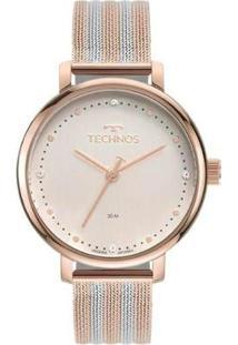 Relógio Technos Style 2035Msv/1T Feminino - Feminino-Prata+Rosa