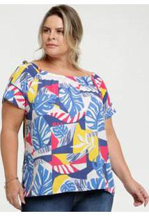 Blusa Feminina Open Shoulder Estampa Tropical Plus Size