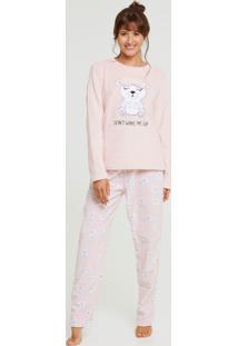 Pijama Feminino Pelúcia Estampa Urso Marisa